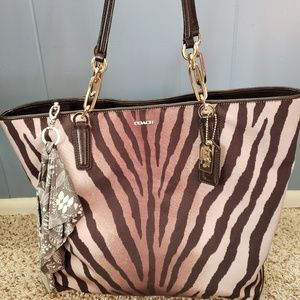 Handbags - COACH MADISON ZEBRA PRINT EAST/WEST TOTE